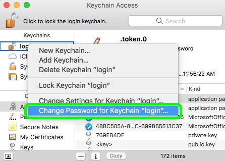 change keychain login