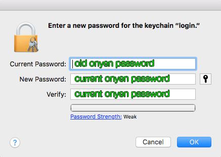 change and verify login keychain