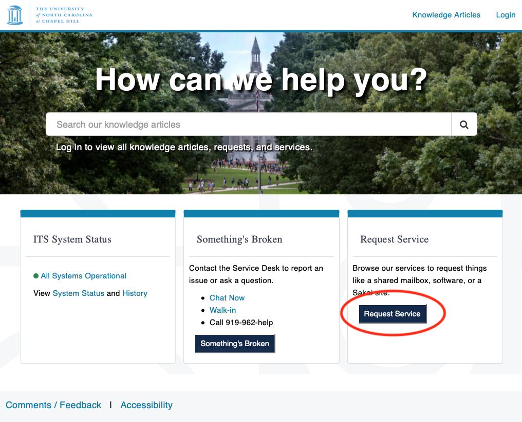 ServiceNow Home screen, Request Service