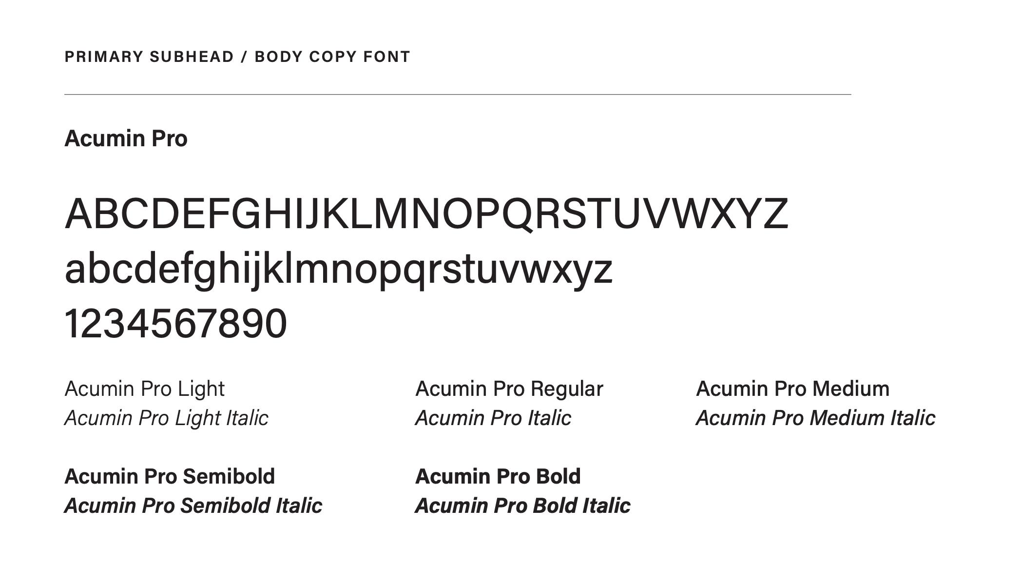 Branding: Acumin Pro font image