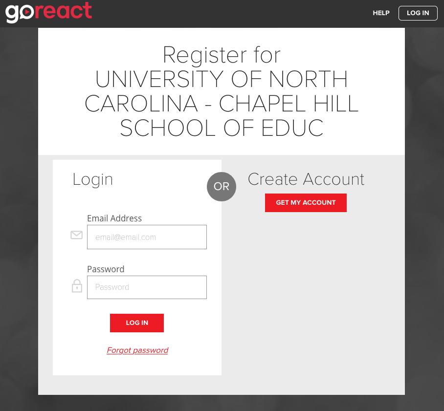 GoReact Login_Account Set Up Page