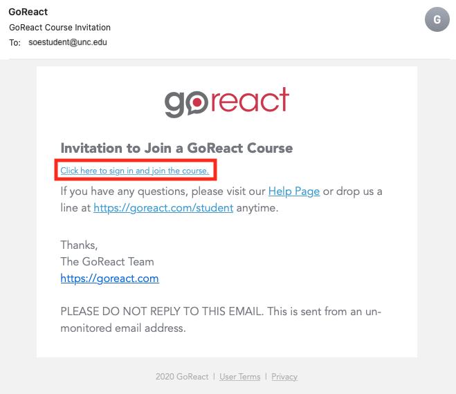 GoReact Student Invite Email