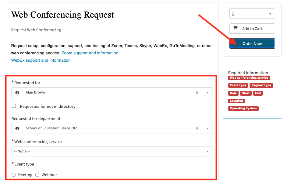 Web conferencing Request Form