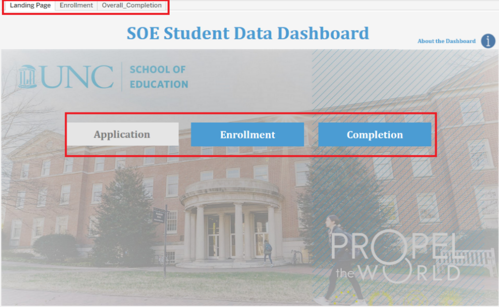 Screenshot of the landing page for the SOE Data Dashboard