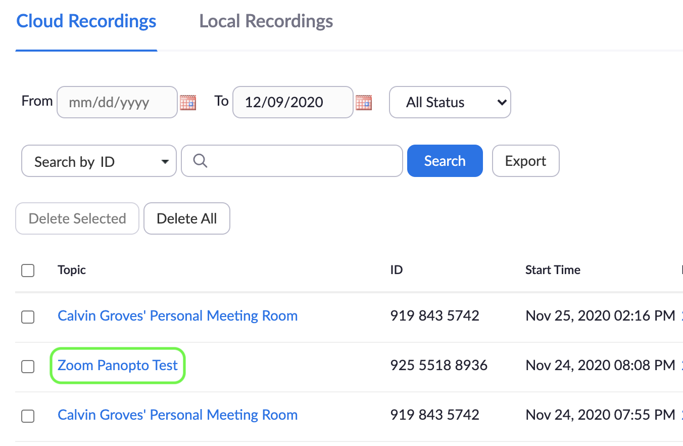 zoom recording download screenshot