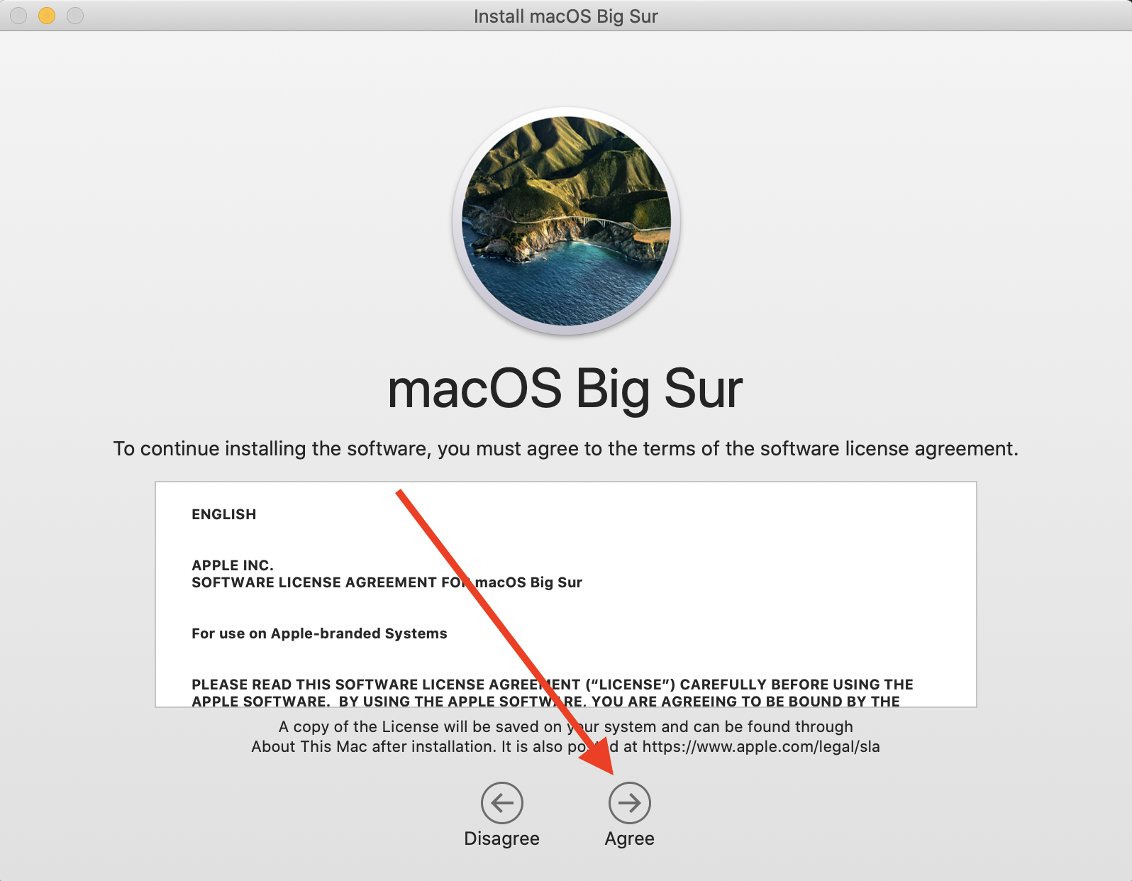 Big Sur Upgrade Terms and Conditional Agree button highlighted.