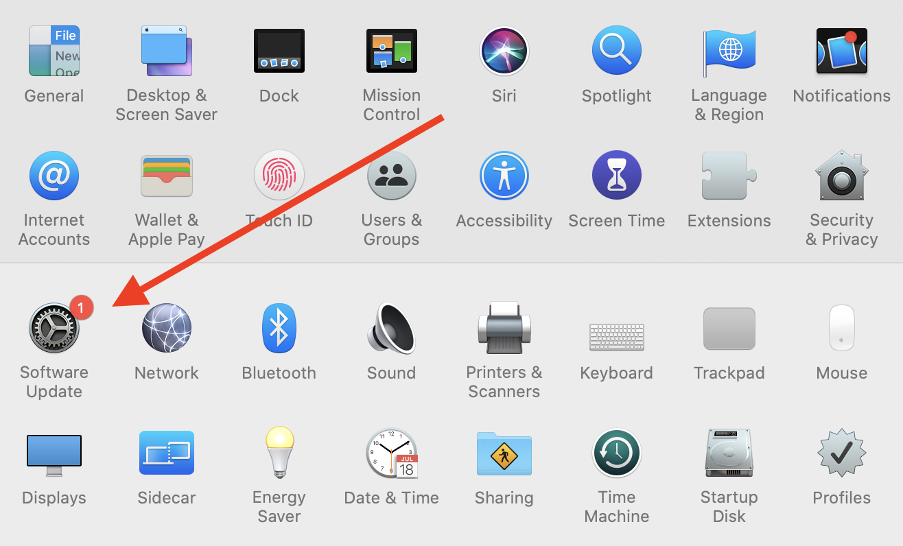macOS systems preferences with Software Update icon highlighted.