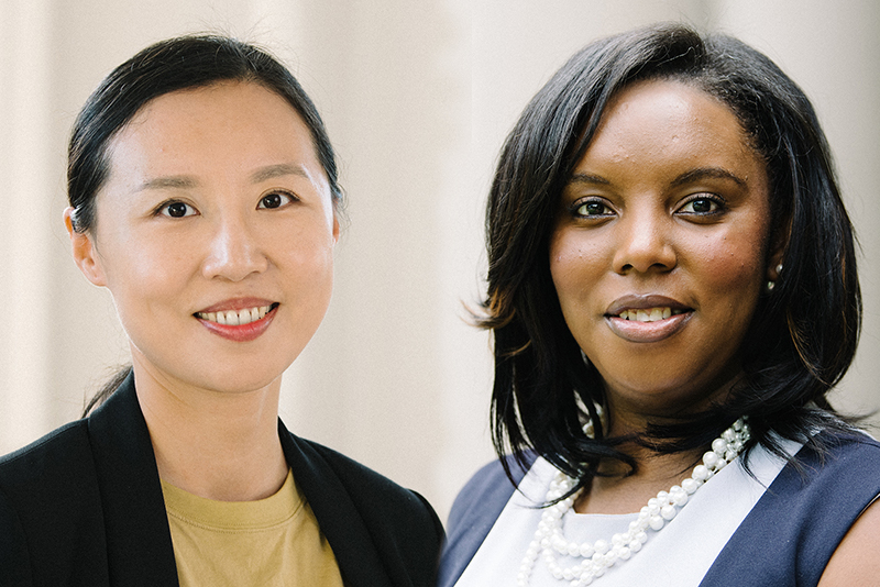 Portraits of Jia Heiny and Trish Harris. Jia is an Asian woman with straight black hair tied back. She is wearing a black blazer and yellow shirt and smiling at the camera. Trish is a black woman with straight black hair. She is wearing a blue and white dress and a pearl necklace and is smiling at the camera.