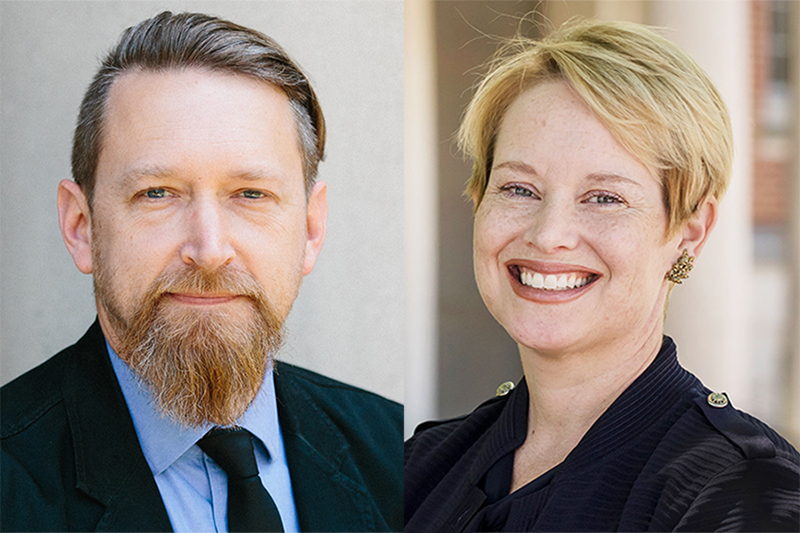 Portraits of Brian Gibbs and Lora Cohen-Vogel. Brian is a white man with brown hair and a brown beard. He is wearing a black suit, blue shirt and black tie. Lora is a white woman with short blond hair. She is wearing a black blazer and smiling at the camera.